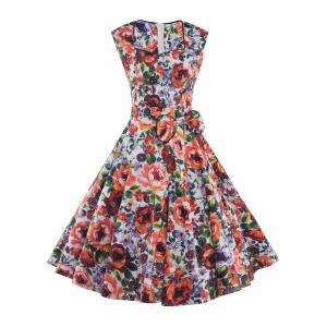Sweetheart Neck Bowknot Floral Print Dress