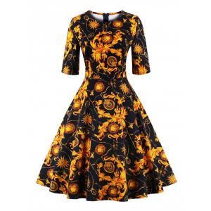 Print Fit and Flare Dress - Yellow - S