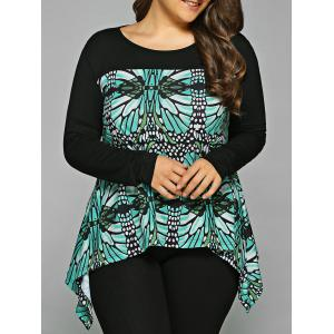 Plus Size Abstract Pattern Asymmetrical Blouse - Black And Green - 5xl