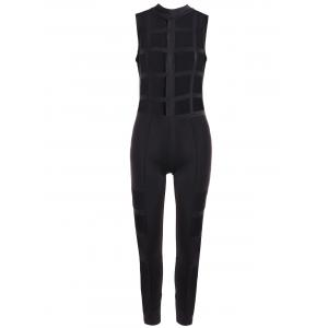 Mesh Patchwork Zipper Design Jumpsuit - Black - S
