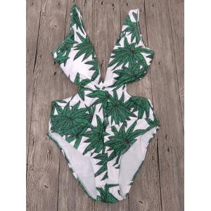 Plunging Neck Leaf Print Backless Swimwear