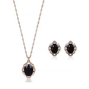 Faux Gem Rhinestone Hollowed Jewelry Set - Black - Xl
