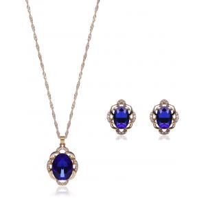 Hollowed Faux Sapphire Jewelry Set - Blue