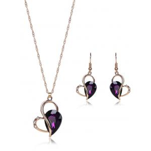 Faux Amethyst Hollowed Jewelry Set - Purple