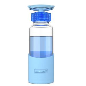 420ML Faucet Valve Cover Transparent Water Glass With Silicon Case - Blue