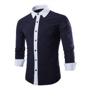 Slim Fit Long Sleeve Color Block Shirt