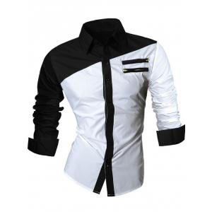 Long Sleeve Zipper Embellished Color Block Shirt