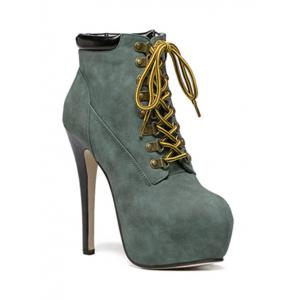 Stiletto Heel Lace-Up Ankle Boots - Blackish Green - 38