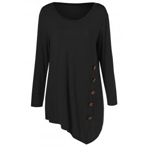 Plus Size Inclined Buttoned Blouse - Black - 2xl