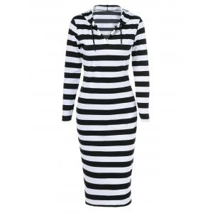 Midi Stripe Fitted Hooded Long Sleeve Dress - White And Black - L