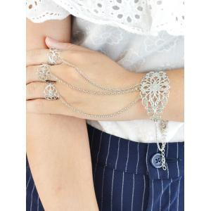Vintage Flower Crucifix Bracelet With Ring - Silver