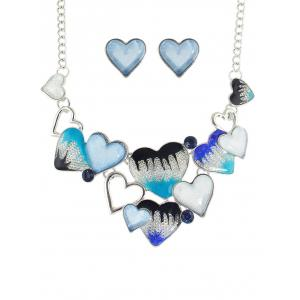 Faux Aquamarine Gem Heart Necklace and Earrings