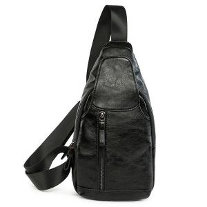 PU Leather Chest Bag - Black