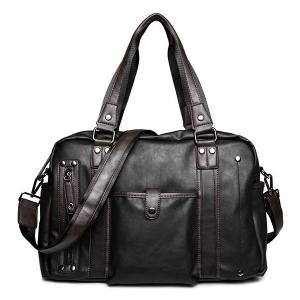 Metallic Vintage Casual Briefcase - Black