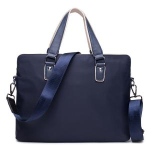 Zip Color Block Nylon Laptop Bag - Blue