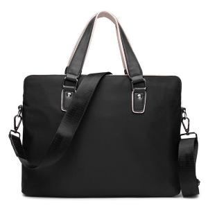 Zip Color Block Nylon Laptop Bag - Black