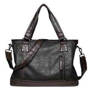 Zip PU Leather Laptop Bag - Black