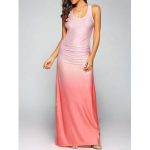 Ombre Sleeveless Racer Back Maxi Tank Dress - Orange Red - S