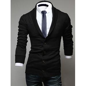 Shawl Collar Long Sleeve Button Up Cardigan