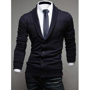 Shawl Collar Long Sleeve Button Up Cardigan - Cadetblue - L