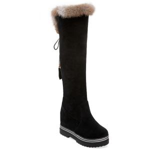 Faux Fur Hidden Wedge Tassels Knee High Boots