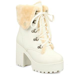 Platform Tie Up Metal Short Boots - White - 38