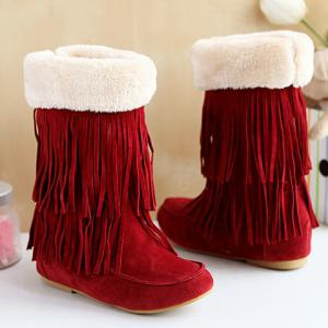 Hidden Wedge Fringe Suede Boots - Deep Red - 37
