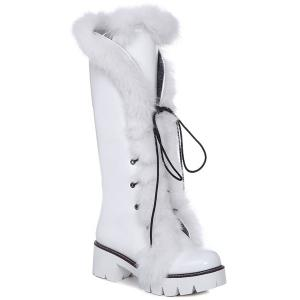 Platform Faux Fur Tie Up Boots - White - 38