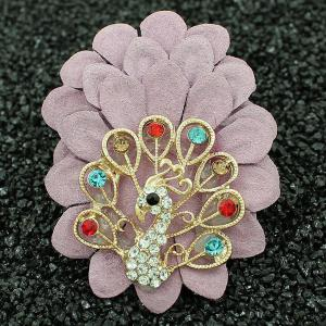 Faux Leather Filigree Peacock Brooch