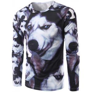 3D Animal Print Round Neck Long Sleeve T-Shirt