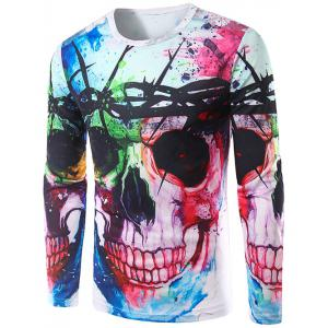Colorful Skull 3D Print Long Sleeve T-Shirt