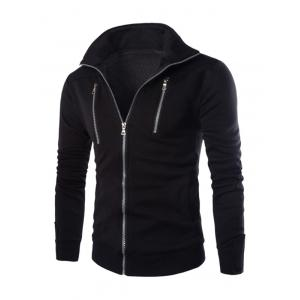 Stand Collar Long Sleeve Zippered Jacket