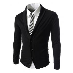 Button Up Shawl Collar Long Sleeve Jacket - Black - 2xl