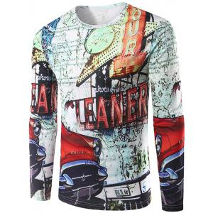 3D Car and Signboard Print Crew Neck Long Sleeve T-Shirt