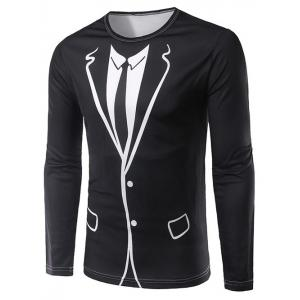 3D Counterfeit Suit Print Long Sleeve T-Shirt - Black - L