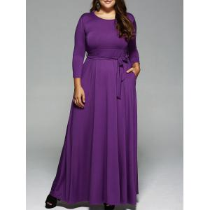 Plus Size Long Sleeve Maxi Formal A Line Evening Swing Dress - Purple - L
