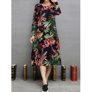 Loose Flowers Print Double Pockets A-Line Dress