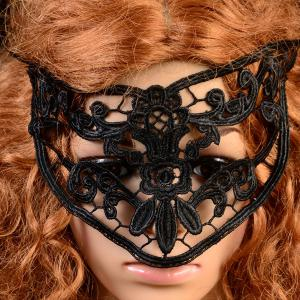 Gothic Style Flower Cat Eye Lace Party Mask - Black - 9