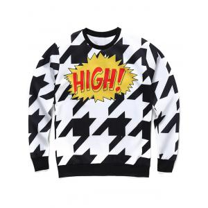 Crew Neck 3D Houndstooth and Letter Print Long Sleeve Sweatshirt