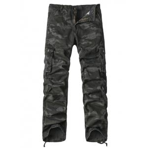 Multi-Pocket Drawstring Hem Zipper Fly Camo Cargo Pants - Gray - 32