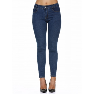 Stretchy Pocket Design Skinny Jeans - Deep Blue - S