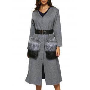 Belted Fuzzy Woolen Overcoat - Gray - One Size