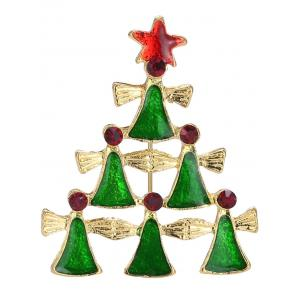 Layered Geometric Pentagram Christmas Tree Brooch