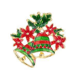Leaf Flower Christmas Bells Brooch