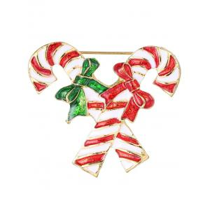 Alloy Candy Cane Bows Christmas Brooch