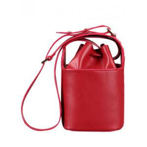 Metal Drawstring PU Leather Crossbody Bag