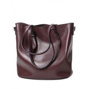 Metal Buckles PU Leather Shoulder Bag