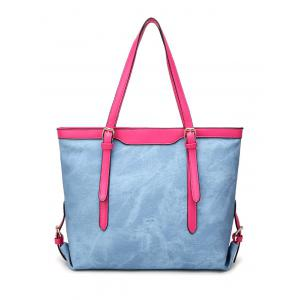Buckle Straps PU Leather Shopper Bag - Light Blue - 38