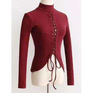 High Neck Reversible Lace Up Knitwear - Wine Red - S