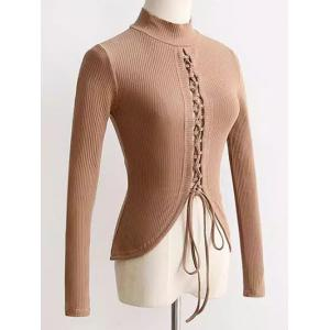 High Neck Reversible Lace Up Knitwear - Apricot - S
